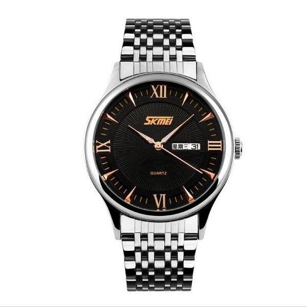 Relógio Masculino Skmei Analógico 9091 - Prata, Preto e Dourado