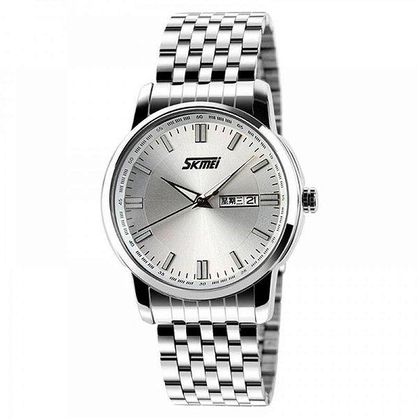 Relógio Masculino Skmei Analógico 9081 - Prata e Branco
