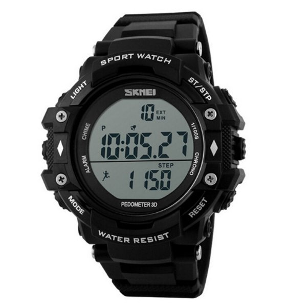 Relógio Pedômetro Masculino Skmei Digital 1128 - Preto