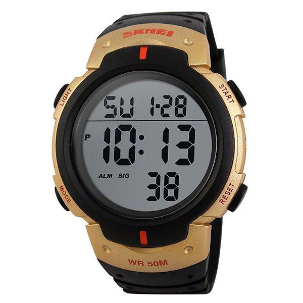 Relógio Masculino Skmei Digital 1068 - Preto e Dourado
