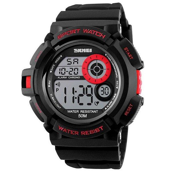 Relógio Masculino Skmei Digital 1222 - Preto e Vermelho