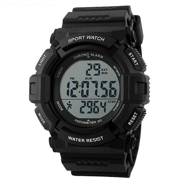 Relógio Pedômetro Masculino Skmei Digital 1116 - Preto