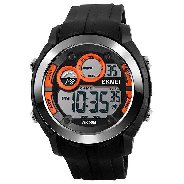 Relógio Masculino Skmei Digital 1234 - Preto e Laranja
