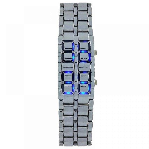 Relógio Masculino Skmei Digital 8061G Prata e Azul