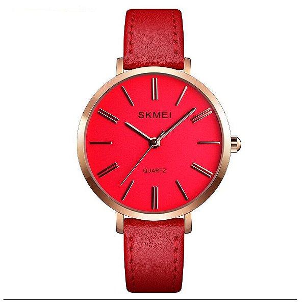Relógio Feminino Skmei Analógico 1397 - Vermelho e Rosê