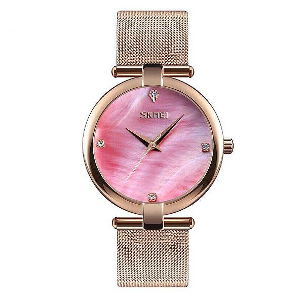 Relógio Feminino Skmei Analógico 9177 - Rosê e Rosa