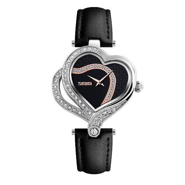 Relógio Feminino Skmei Analógico 9161 - Preto e Prata