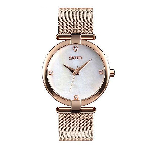 Relógio Feminino Skmei Analógico 9177 - Rosê e Branco