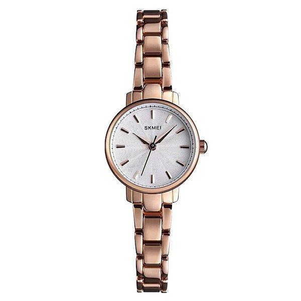 Relógio Feminino Skmei Analógico 1410 - Rosé e Branco