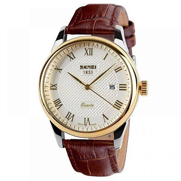 Relógio Feminino Skmei Analógico 9058 - Marrom, Dourado e Branco
