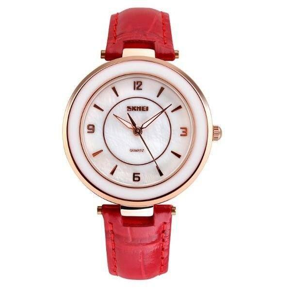 Relógio Feminino Skmei Analógico 1059 - Vermelho, Dourado e Branco