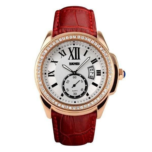 Relógio Feminino Skmei Analógico 1147 - Vermelho, Dourado e Branco