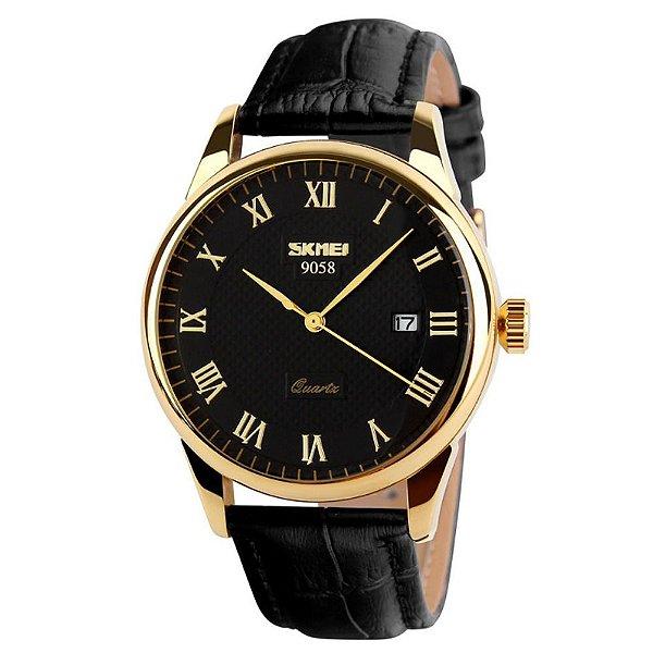 Relógio Feminino Skmei Analógico 9058-P - Preto e Dourado