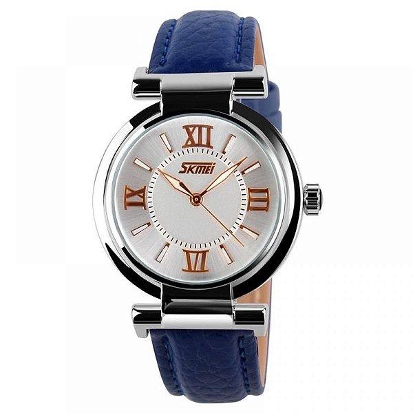 Relógio Feminino Skmei Analógico 9075 - Azul e Branco