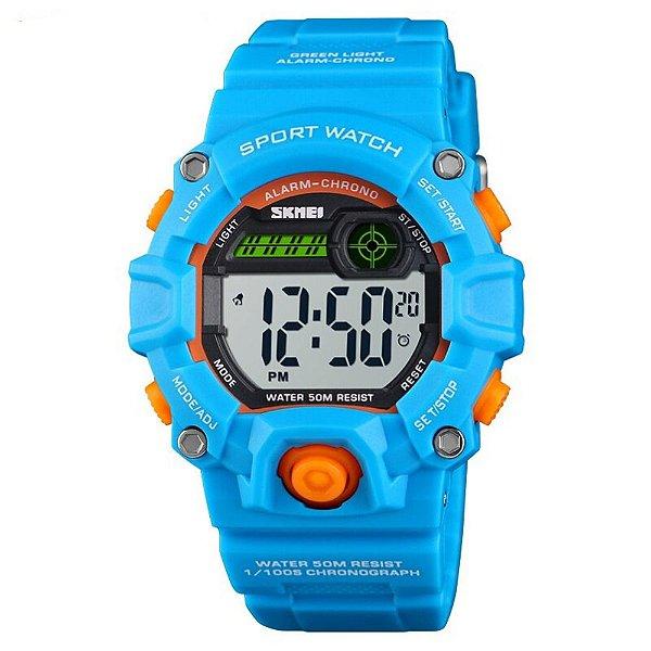 Relógio Infantil Skmei Digital 1484 Azul e Laranja