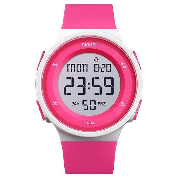 Relógio Infantil Skmei Digital 1445 Rosa e Branco
