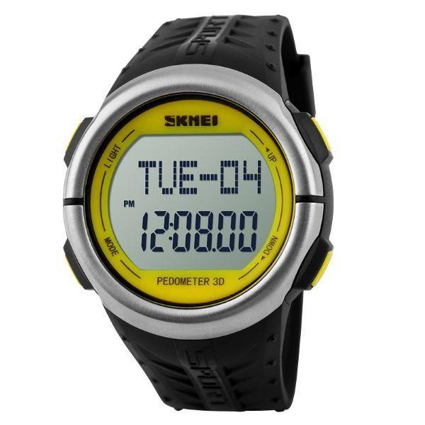 Relógio Pedômetro Unissex Skmei Digital 1058 - Preto e Amarelo