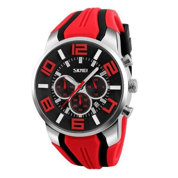Relógio Masculino Skmei Analógico 9128 - Vermelho, Preto e Prata