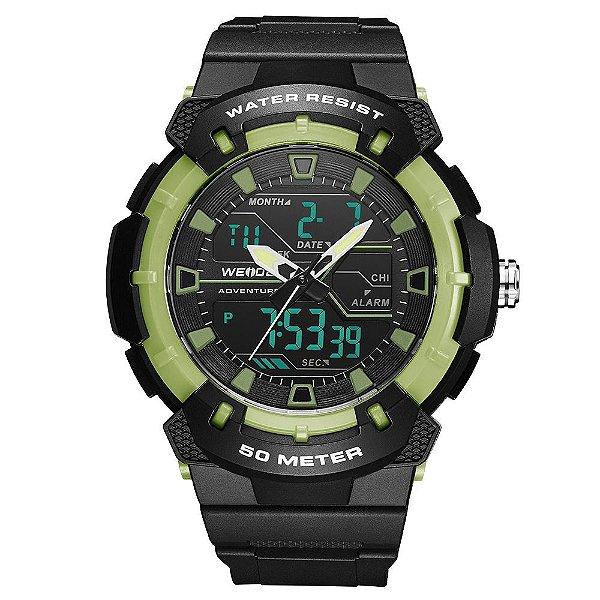 Relógio Masculino Weide AnaDigi WA3J8008 - Preto e Verde