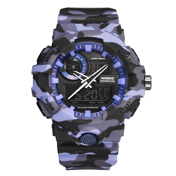 Relógio Masculino Weide AnaDigi WA3J8007 - Azul Camuflado