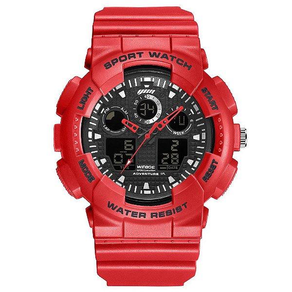 Relógio Masculino Weide AnaDigi WA3J8003 - Vermelho e Preto