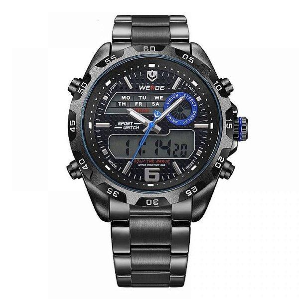 Relógio Masculino Weide AnaDigi WH-3403 - Preto e Azul