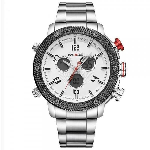 Relógio Masculino Weide AnaDigi WH-5206 - Prata e Branco