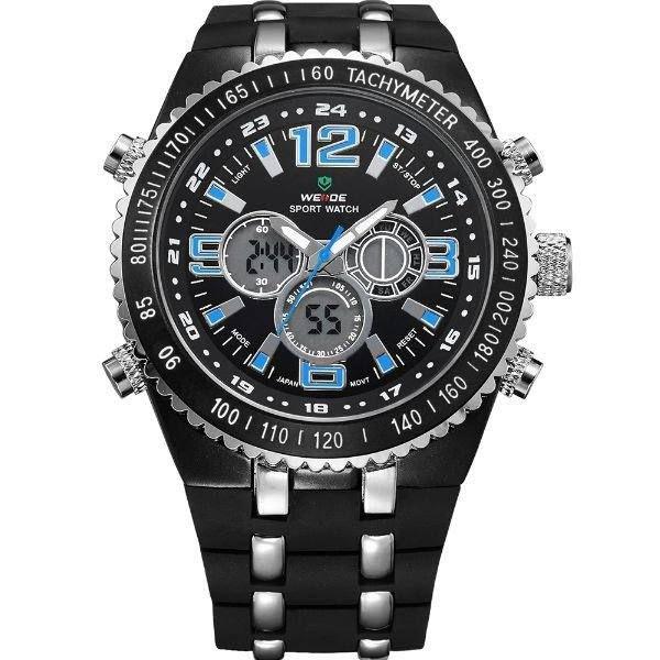 Relógio Masculino Weide AnaDigi WH-1107 - Preto, Prata e Azul