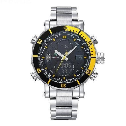 Relógio Masculino Weide AnaDigi WH-5203 - Prata e Amarelo