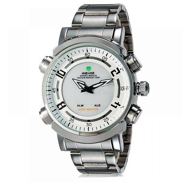 Relógio Masculino Weide AnaDigi WH-1101 - Prata e Branco
