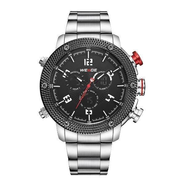 Relógio Masculino Weide AnaDigi WH-5206 - Prata e Preto