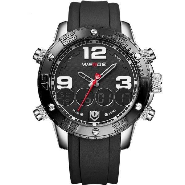 Relógio Masculino Weide AnaDigi WH-3405 - Preto e Prata