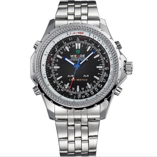 Relógio Masculino Weide AnaDigi WH-904 - Prata e Preto