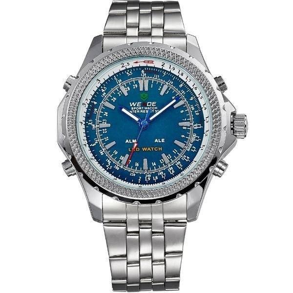 Relógio Masculino Weide AnaDigi WH-904 - Prata e Azul