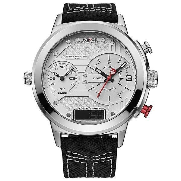 Relógio Masculino Weide AnaDigi WH-6405 - Preto, Prata e Branco