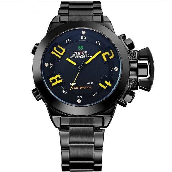 Relógio Masculino Weide AnaDigi WH-1008 - Preto e Amarelo