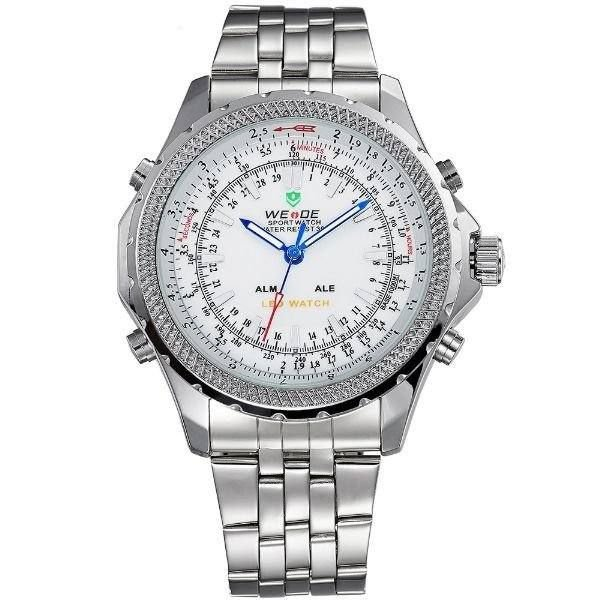 Relógio Masculino Weide AnaDigi WH-904 - Prata e Branco