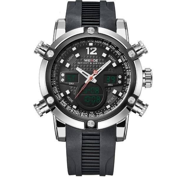 Relógio Masculino Weide AnaDigi WH-5205 - Preto e Prata