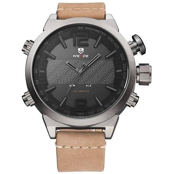 Relógio Masculino Weide AnaDigi WH-6101 - Marrom e Cinza