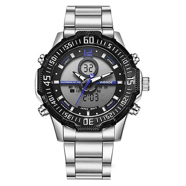 Relógio Masculino Weide AnaDigi WH-6105 - Prata, Preto e Azul
