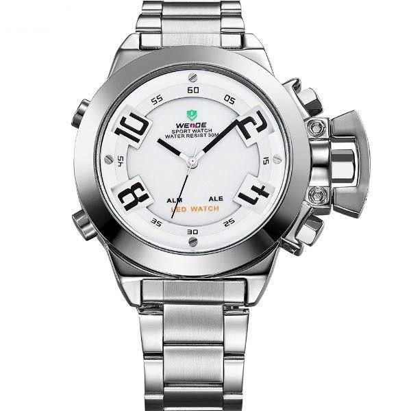 Relógio Masculino Weide AnaDigi WH-1008 - Prata e Branco