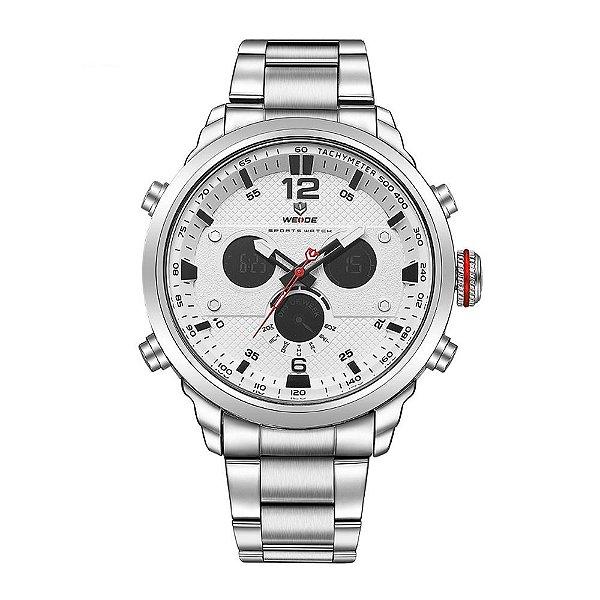 Relógio Masculino Weide AnaDigi WH-6303 - Prata e Branco