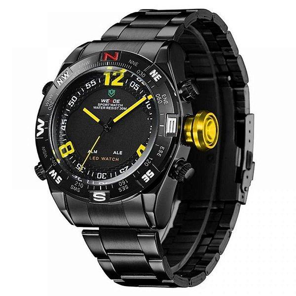 Relógio Masculino Weide AnaDigi WH-2310 - Preto e Amarelo