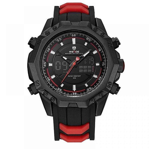 Relógio Masculino Weide AnaDigi WH-6406 - Preto e Vermelho