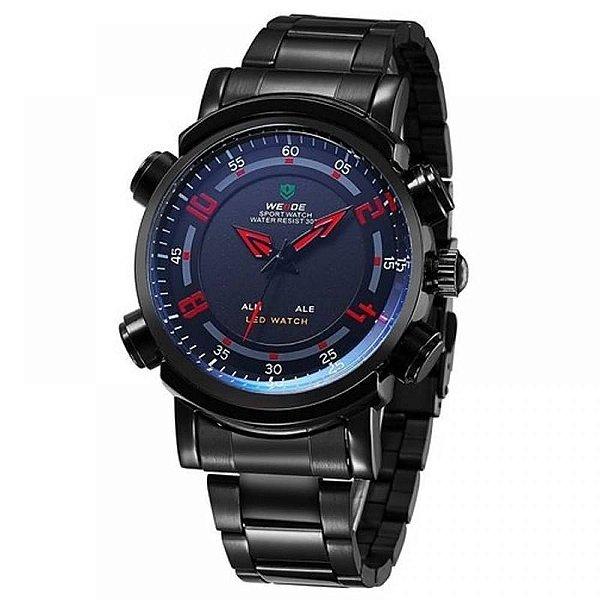 Relógio Masculino Weide AnaDigi WH-1101 - Preto, Azul e Vermelho