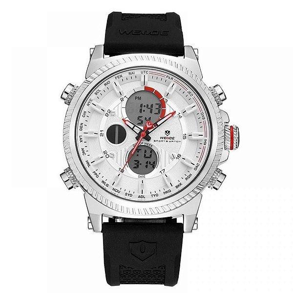 Relógio Masculino Weide AnaDigi WH-6403 - Preto, Prata e Branco