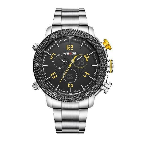 Relógio Masculino Weide AnaDigi WH-5206 - Prata, Preto e Amarelo