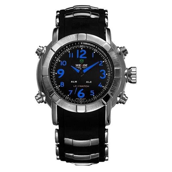 Relógio Masculino Weide AnaDigi WH-1106 - Preto, Prata e Azul