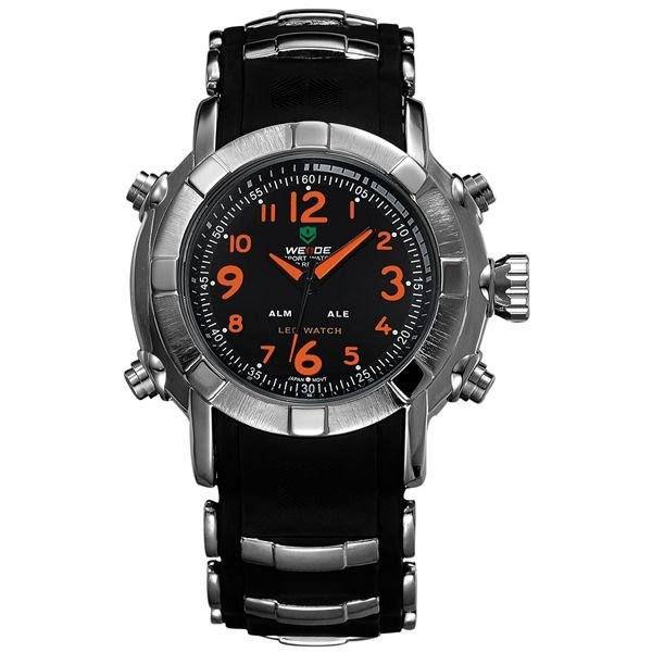 Relógio Masculino Weide AnaDigi WH-1106 - Preto, Prata e Laranja