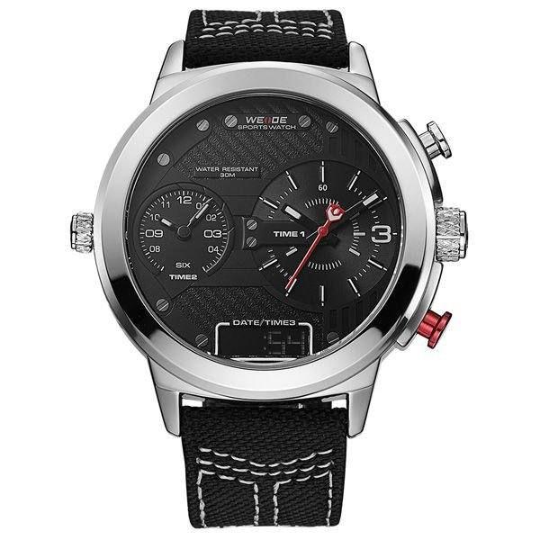 Relógio Masculino Weide AnaDigi WH-6405 - Preto e Prata